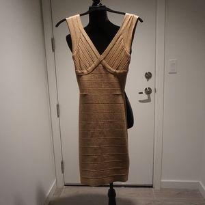 Gold Herve Leger Bandage Dress